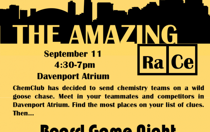 """ChemClub Mixer: """"Amazing RaCe"""" Scavenger Hunt and Board Game Night"""