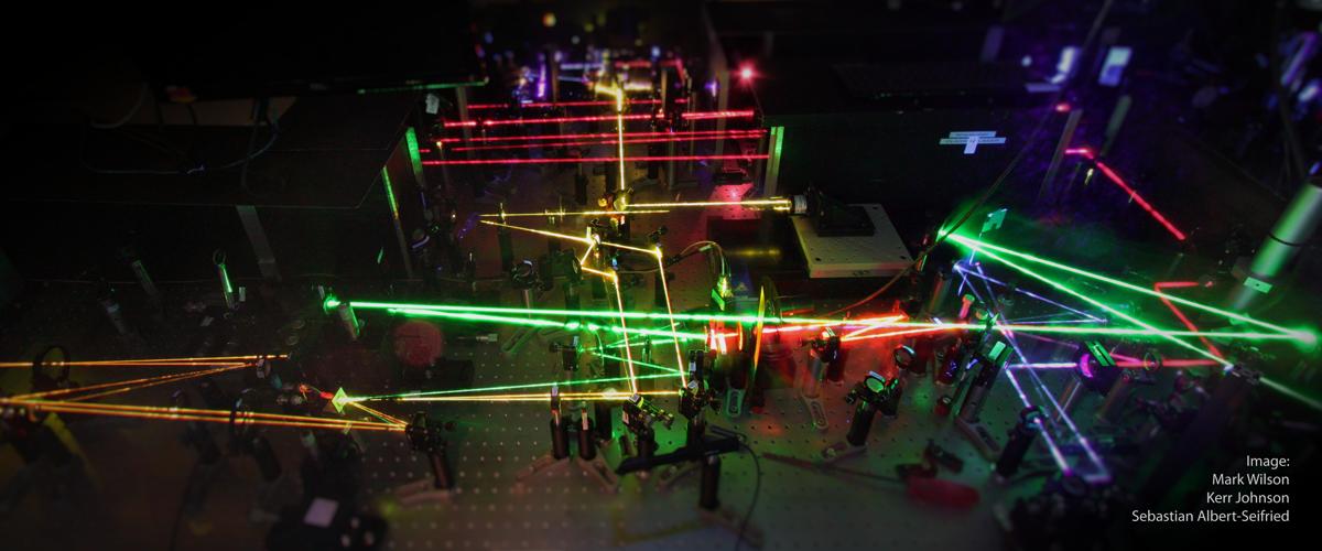 Photo of an ultrafast pump-probe setup built by Mark Wilson, Kerr Johnson, and Simon Gélinas